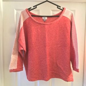 NWOT Old Navy Coral Thick 3/4 Sleeve Sweater